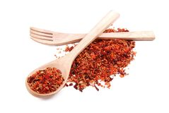 Mixture of spices in wooden spoon with wooden fork Stock Photo