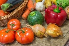 Mixture of vegetables on jute bag Royalty Free Stock Photo