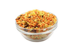 Mixtures of pea, lentils in a glass bowl Stock Images