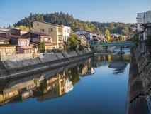 Miyagawa River of the old public town Takayama , Japan autumn in the evening Royalty Free Stock Photos