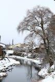 Miyagawa River Surrounded with Snow. (Takayama, Japan Royalty Free Stock Images