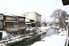 Miyagawa River Surrounded with Snow. (Takayama, Japan Royalty Free Stock Photos