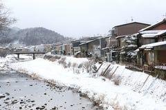 Miyagawa River Surrounded with Snow. (Takayama, Japan Stock Photo