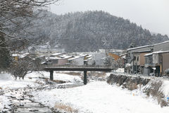 Miyagawa River Surrounded with Snow Royalty Free Stock Photo