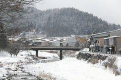 Miyagawa River Surrounded with Snow. (Takayama, Japan Royalty Free Stock Photo