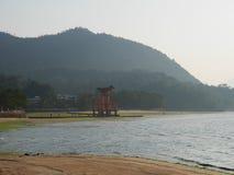 Miyajima en av de sceniska fläckarna för överkant tre i Japan royaltyfria foton