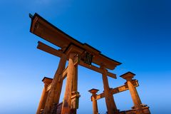 Miyajima, Famous big Shinto torii standing in the ocean in Hiroshima, Japan Stock Photography