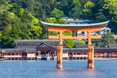 Miyajima, Famous big Shinto torii standing in the ocean in Hiroshima, Japan Stock Images