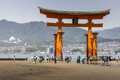 Miyajima, Famous big Shinto torii  Royalty Free Stock Photo