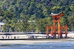 Miyajima, Famous big Shinto torii   Stock Photo