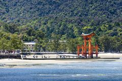 Miyajima, Famous big Shinto torii standing   Royalty Free Stock Images