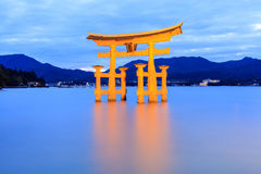 Miyajima, The famous Floating Torii gate at night Royalty Free Stock Photography