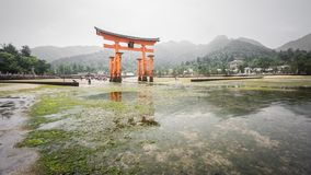 Miyajima, Floating Torii gate, low tide, Japan. Royalty Free Stock Photography
