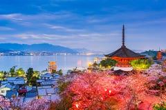 Miyajima Hiroshima i vår Fotografering för Bildbyråer