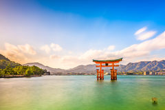Miyajima, Hiroshima, Japan. At Itsukushima Floating Tori Gate royalty free stock images