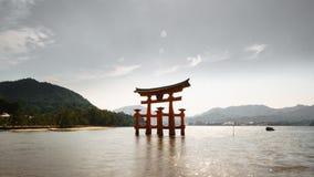 Miyajima island and Floating Torii gate in Japan. backlit Stock Images