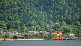 Miyajima island and Floating Torii gate in Japan. Stock Photos