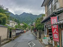 Miyajima island, Hiroshima, JAPAN - Aug. 10, 2017: View of a street in Miyajima island. Miyajima island, Hiroshima, JAPAN - Aug. 10, 2017: A look at one of the Stock Image