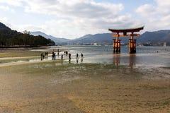Miyajima, Japão - 28 de dezembro de 2009: Turistas que andam perto de Tori Gate de flutuação do santuário de Itsukushima da costa imagens de stock