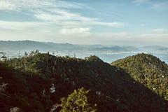 Miyajima Japan landskap som beskådas från över fotografering för bildbyråer