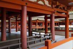 Miyajima - Japan, May 26, 2017: Long corridors and pillars at t Royalty Free Stock Photos