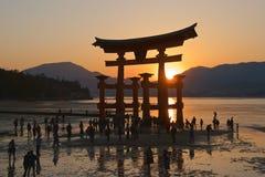 Miyajima, Japan - May 2017: Sunset at Itsukushima Shrine in Miyajima, Japan on May 2017 Stock Photos