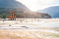 MIYAJIMA, JAPON - 25 MARS : Promenade de touristes autour du floa célèbre Images stock