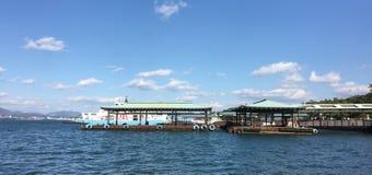 Miyajima jetty at the sunny day in Hiroshima, Japan Royalty Free Stock Images