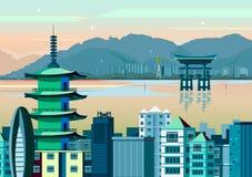 Miyajima and Pagoda of Japan Royalty Free Stock Photos