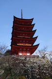 Miyajima pagoda located on the red hills of the island of Miyaji Royalty Free Stock Images