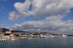 Miyajima promu molo w Hiroszima, Japonia Zdjęcia Royalty Free