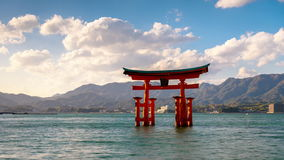 Miyajima Shrine Gate. Miyajima, Hiroshima, Japan at the floating gate of Itsukushima Shrine stock video