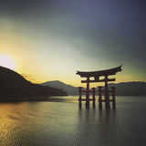 Miyajima shrine sunset Stock Photos