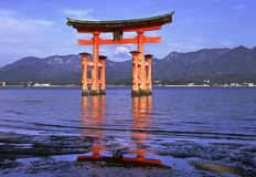 Miyajima temple tori royalty free stock photo