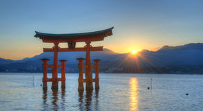 Miyajima Tori Gate. The otori gate which welcomes visitors to Miyajima, Japan Stock Image