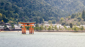 Miyajima Torii with mountain Royalty Free Stock Photo