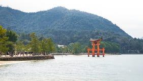 Miyajima Torii with mountain Royalty Free Stock Photos