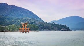 Miyajima Torii with mountain Royalty Free Stock Image