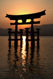 Miyajima Torii Silhouette At Sunset Stock Photo