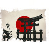 Miyajima Torii, sumo, Japan flag Royalty Free Stock Image