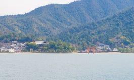 Miyajima wyspy krajobraz od promu Zdjęcia Stock