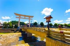 Miyamae-Bashi Bridge Torii Gate Takayama Angled H Stock Photo
