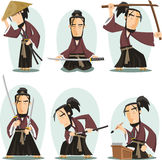 Miyamoto musashi cartoon illustrations Royalty Free Stock Photography