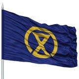 Miyazaki Capital City Flag on Flagpole, Flying in the Wind, Isolated on White Background Stock Photography