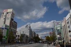 Miyuki Dori Street i Himeji-stad Arkivbild