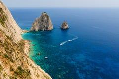 Mizithres岩石,扎金索斯州海岛,希腊 免版税库存照片