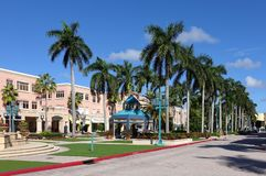 Beautiful Mizner Park outdoor mall royalty free stock image