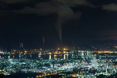 Mizushima coastal industrial area in Japan at night Stock Photography