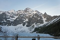 MiÄ™guszowiecki Peak and Morskie Oko Lake stock photography