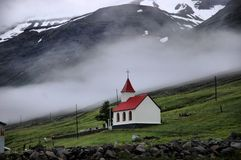 Mjóifjörður, IJsland Stock Afbeeldingen